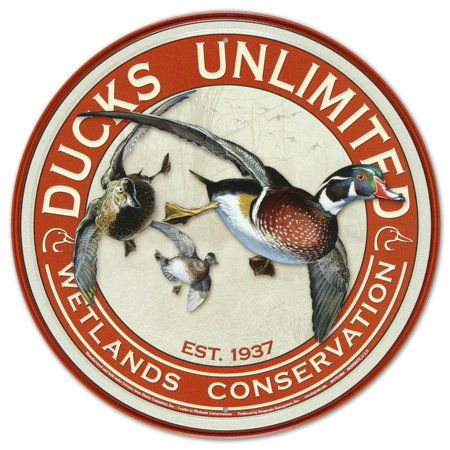 Ducks Unlimited Round Retro Vintage Tin Sign Tin Sign - 12x12