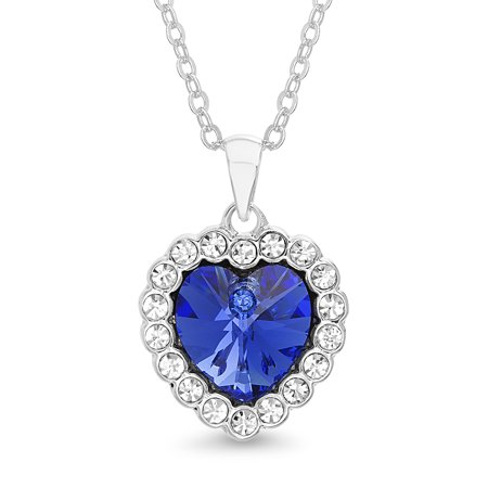 Lesa Michele Faceted Crystal Womens Sapphire Heart Halo Style Pendant Chain Necklace made with Swarovski Crystals ()