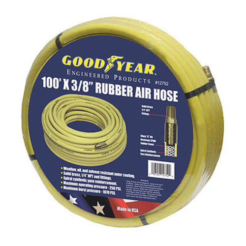 "Good Year 100' x 3/8"" 250 PSI Rubber 12752 Air Compressor Hose Goodyear USA Made"