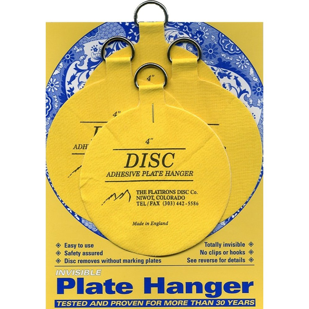 Flatirons Disc Adhesive Large Plate Hanger Set (4 - 4 Inch Hangers)  sc 1 st  Walmart : invisible plate hangers for walls - pezcame.com