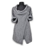 Sexy Women Cowl Neck Long Sleeve Jumper Top Cardigan Split Wrap Sweater Poncho