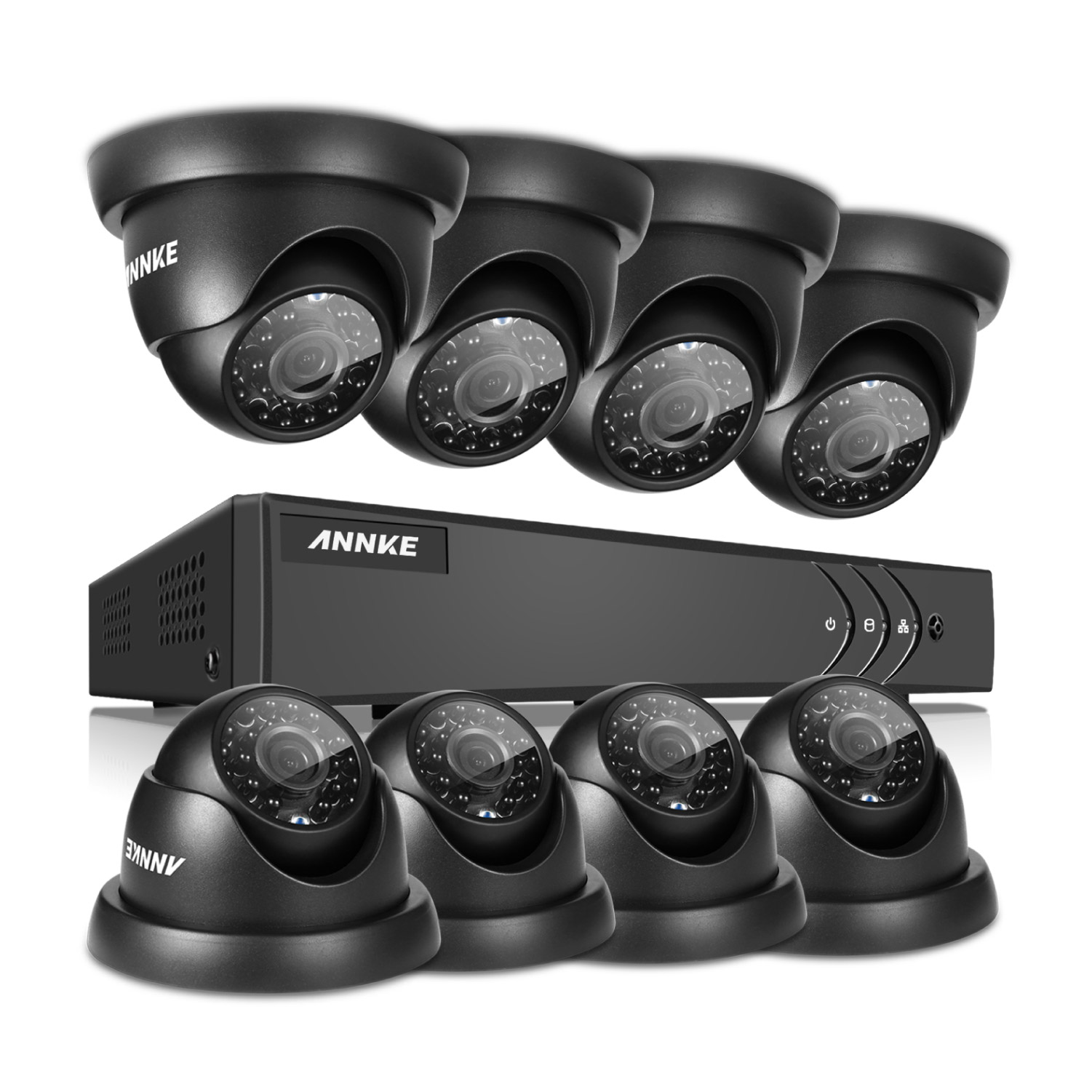 ANNKE Security Camera System 8Pcs 720P AHD Weatherproof Outdoor CCTV Camera  16CH 1080P Video Surveillance kits with NO Hard Drive Disk