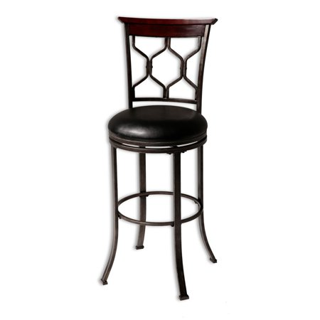 Metal Black Counter Stools - Tallahassee Swivel Seat Counter Stool with Heritage Silver Finished Metal Frame and Black Faux Leather Upholstery, 26-Inch Seat Height, 2-Pack