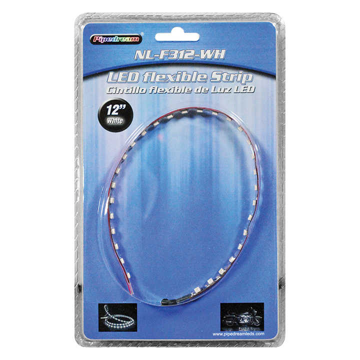 """PIPEDREAM 12"""" HIGH INTENSITY FLEXIBLE LED STRIP CUT EVER 3 LED'S WHITE-NLF312WH"""