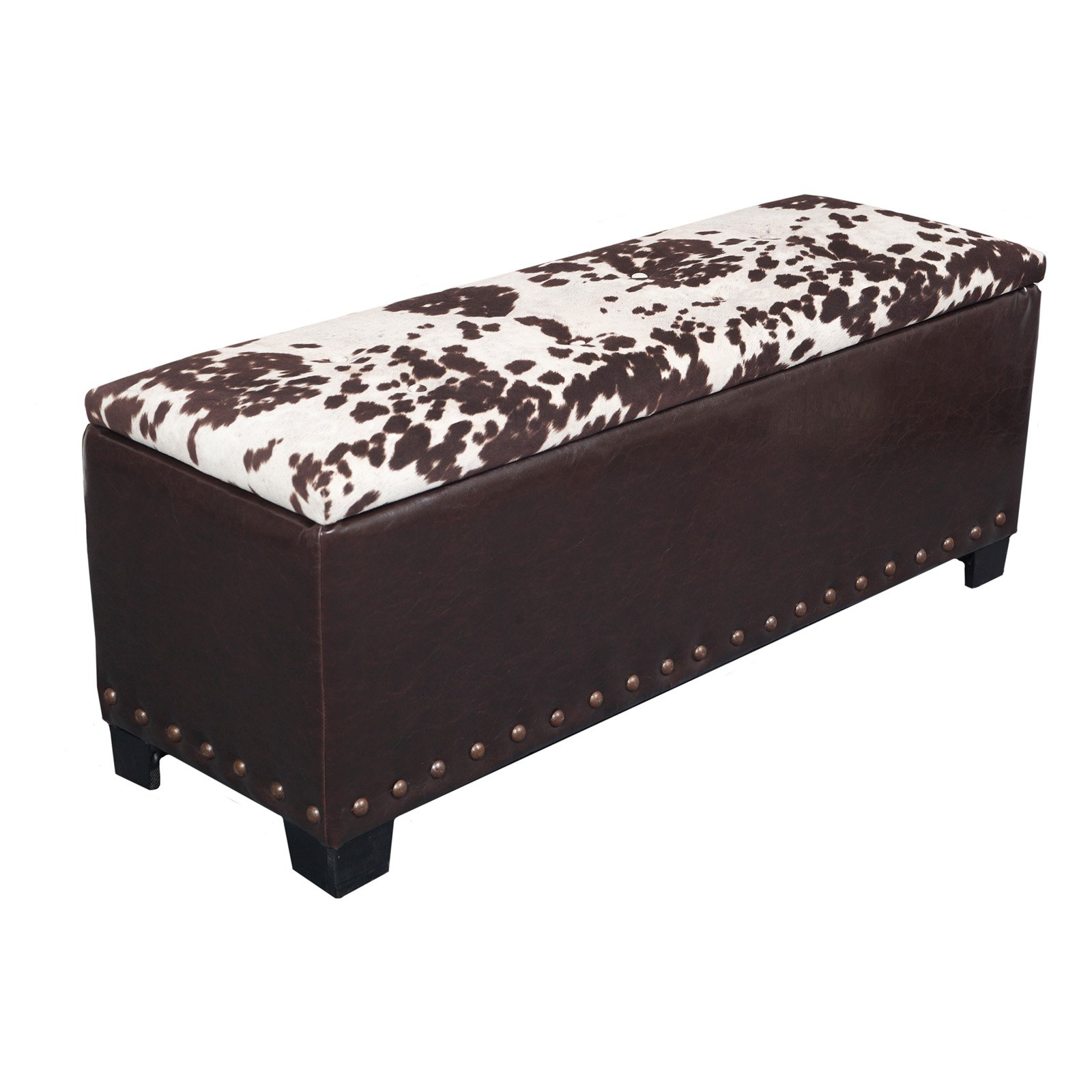 Cowhide Gun Concealment Bench, Dark Brown/Cowhide