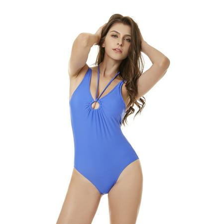 ba09bde9c3e Women's Bikini Swimsuit, One Piece Neckline High Waisted Swimsuits, Halter  Push up Bikini, Monokini Tumm Control Bathing Suits Plus Size Swimwear,  Blue, ...