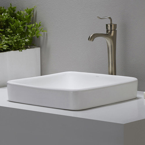 Kraus Elavo  Ceramic Square Semi-Recessed Bathroom Sink with Overflow
