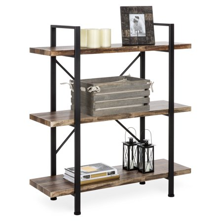 Best Choice Products 3-Tier Industrial Bookcase, Open Wood Shelves w/ Metal Frame, Home and Office Storage Display Furniture, Brown/Black