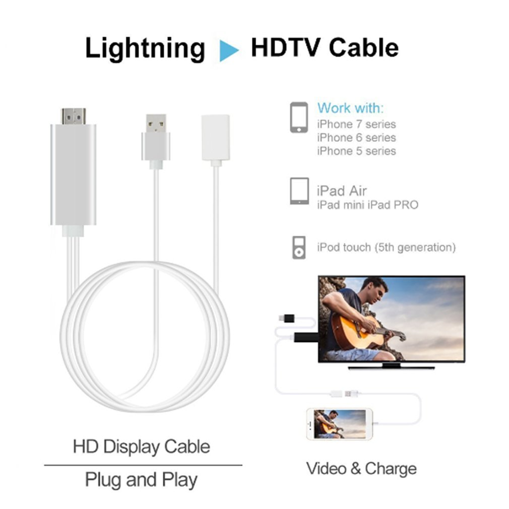 High Speed Turnning To Hdmi Mobile Phone Connecting Tv Transfer Line Iphone Usb Cable Wiring Diagram Plug Adapter For Apple And Ipad 80cm