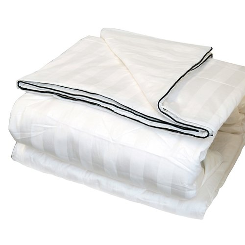 LCM Home Fashions Silk-Filled Damask Stripe Cotton Blanket