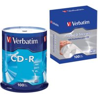 Verbatim 94554 700MB 80-Minute 52x CD-RS 100-Count Spindle and CD/DVD Paper Sleeves with Clear Window, 100-Pack