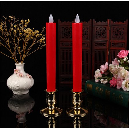 2PCS Candle Light, Justdolife Electric Artificial Battery Operated Candle Lamp Flameless Candle with Candle Holder for Christmas Festivals Party Decoration - Flameless Lamps