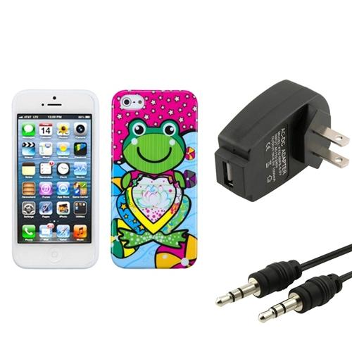 Insten Wall Charger Audio Cable Hot Pink Lotus Frog Candy Skin Case For APPLE iPhone 5