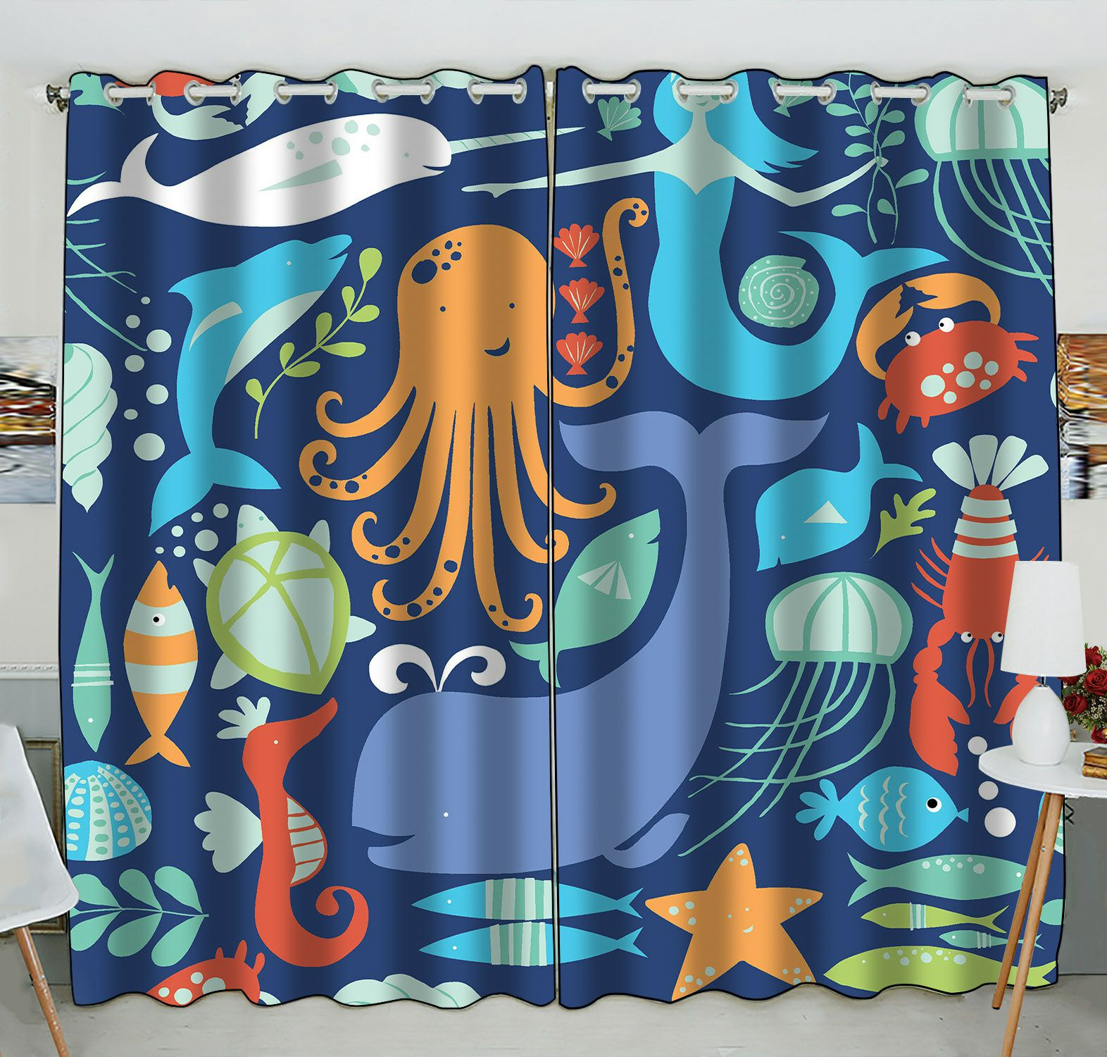 ZKGK Underwater World Sea Life Ocean Animals Fish Coral Window Curtain Drapery/Panels/Treatment For Living Room Bedroom Kids Rooms 52x84 inches Two Panel