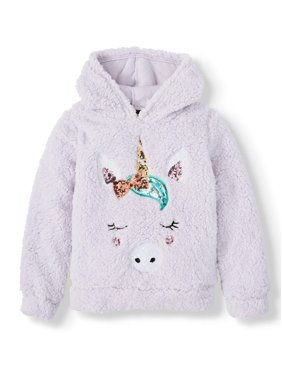 Miss Chievous Sequin Critter Plush Sherpa Pullover Hoodie (Little Girls & Big Girls)