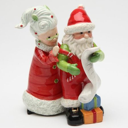 Cosmos Gifts Mrs.Claus and Santa Naughty or Nice 2-Piece Salt And Pepper Set