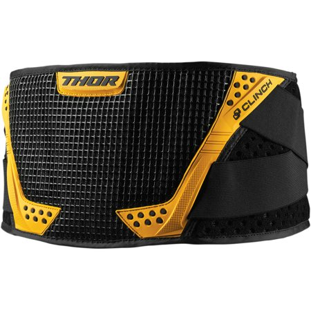 Thor Force Belt - Thor Youth Clinch Support Belt Off Road (Black/Yellow, One Size Fits Most)