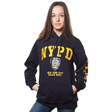 Adult Nypd Navy Pullover Hoodie with Yellow Chest and Sleeve Print