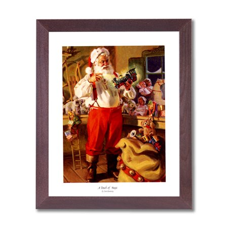 Old St Nick Santa Clause Christmas #3 Wall Picture Cherry Framed Art Print
