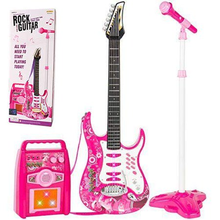 iMeshbean Kids Electric Guitar Set MP3 Player Learning Toys Microphone, Pink (Electric Guitar Set)