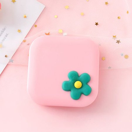 KABOER Pink Cute Flowers Travel Portable Contact Lens Case Container Storage Box Eye Care Kit Cartoon small fresh flower contact lens case cute portable myopia contact lens care box simple beauty box