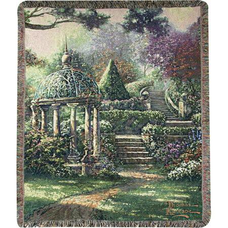 """Thomas Kinkade """"Gazebo Garden"""" Jacquard Woven Fringed Throw Blanket 50"""" X 60"""