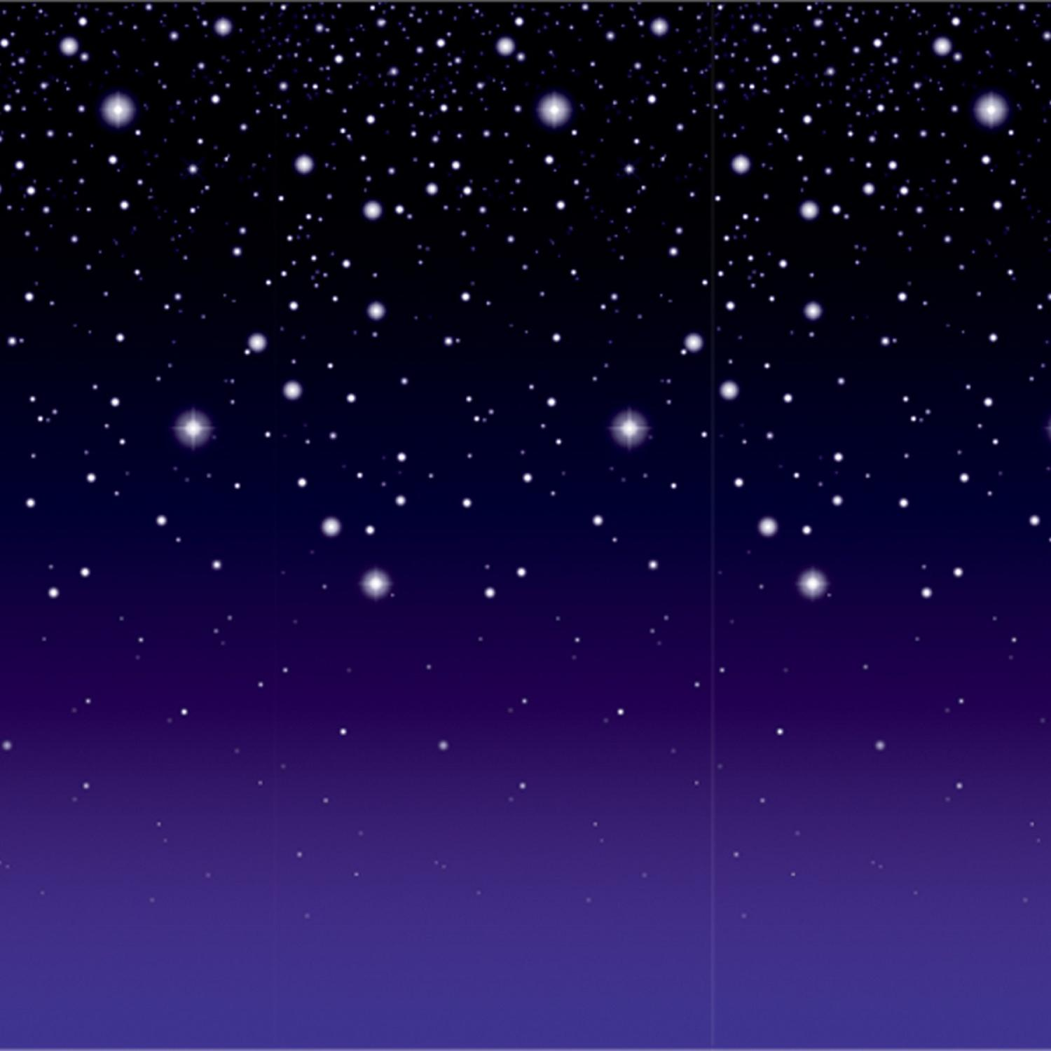 Pack of 6 Purple and Black Night Filled with Stars Party Backdrop 30'