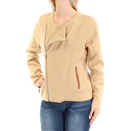 Ralph Lauren Womens Beige Zippered Pocketed Long Sleeve Jewel Neck Wrap Sweater  Size: