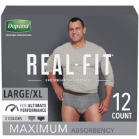 Depend Real Fit Incontinence Underwear for Men, Maximum Absorbency, Large/Extra-Large, Black & Grey, 12 Count
