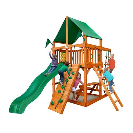 Gorilla Playsets Chateau Tower Wooden Playset with Green Vinyl Canopy, Rope Ladder, and Rock Climbing Wall (Rock Climbing Rope Bags)