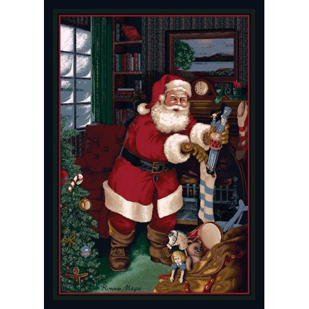 Milliken Seasonal Inspirations Area Rugs - Novelty 01800 Kris Kringle Santa Stockings Presents Christmas Rug
