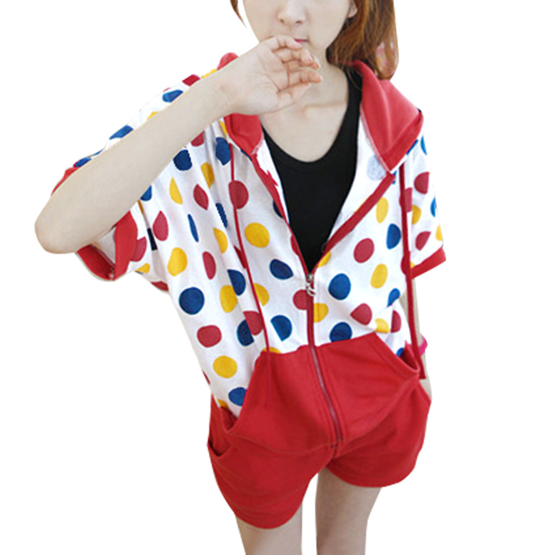 Allegra K Juniors Zip up Colorful Dots Print Bat Sleeves Sports Suits (Size S / 3)
