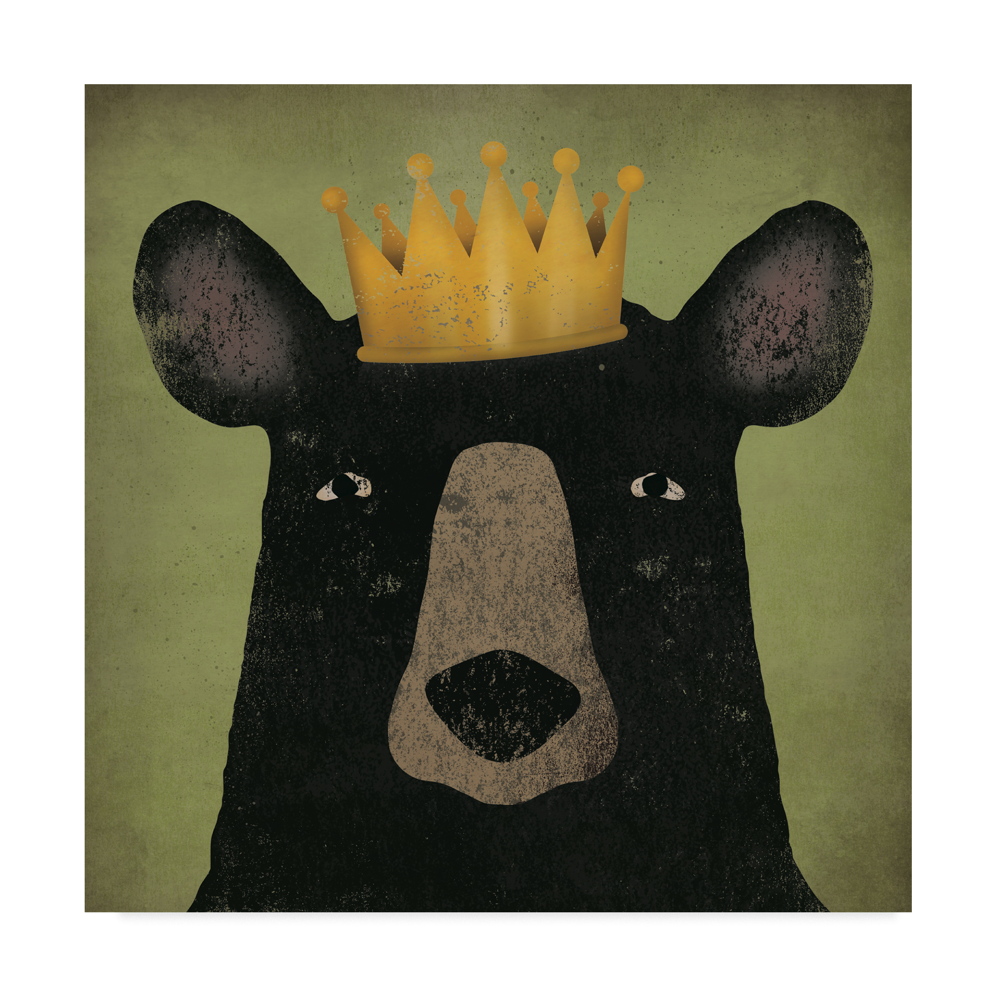 Trademark Fine Art 'The Black Bear with Crown' Canvas Art by Ryan Fowler