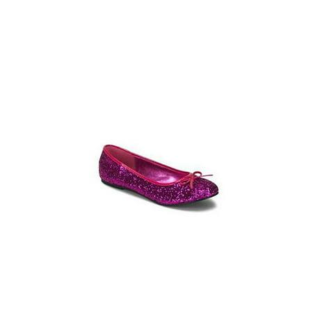 Glitter Star Shoe - Hot Pink Glitter Star Flat Shoe Star-16G Pleaser USA Hot Pink