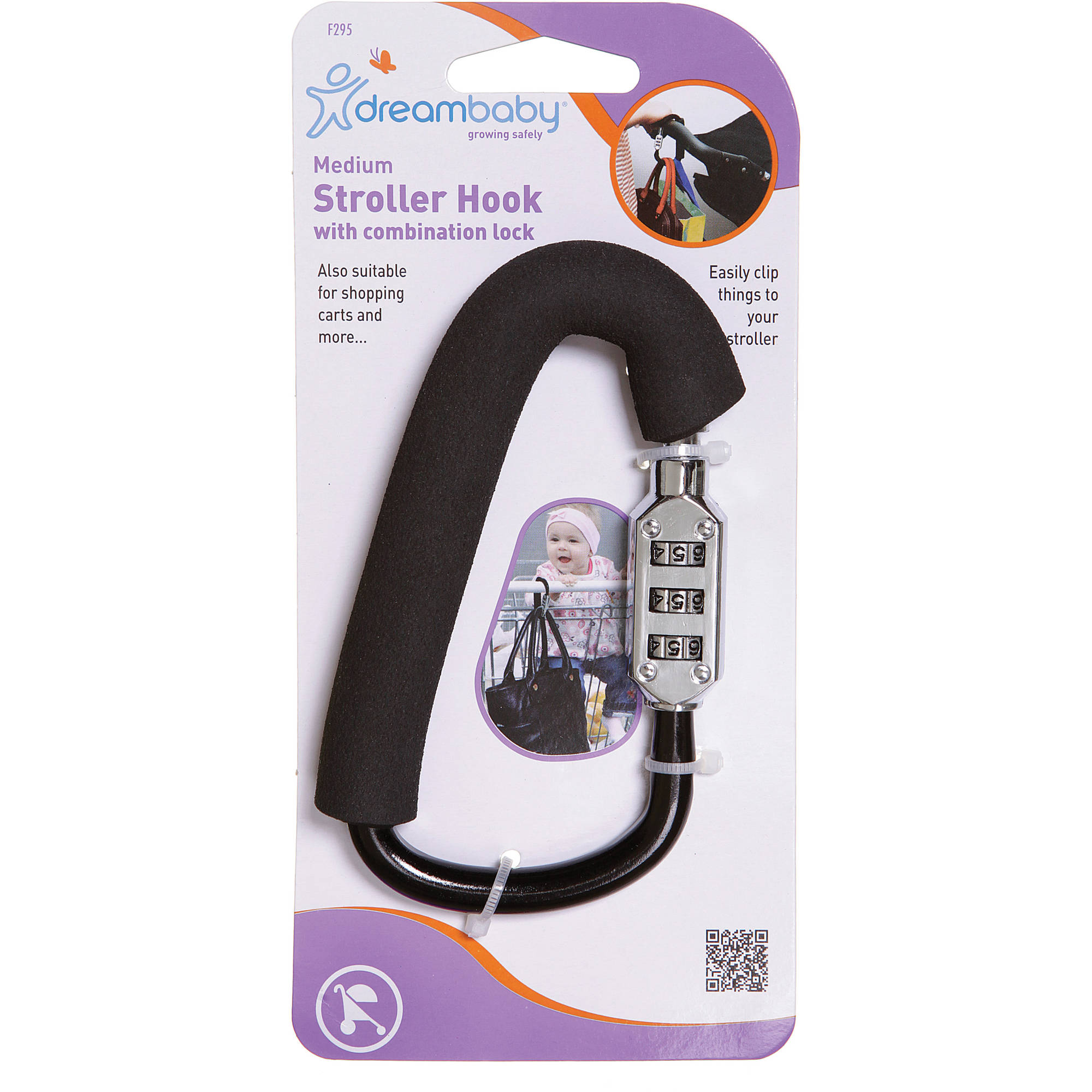 Dreambaby Stroller Hook with Combination Lock, Medium