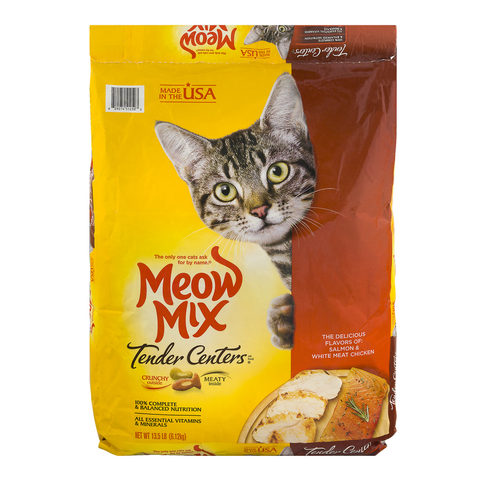 Meow mix tender centers salmon & white meat chicken flavors dry cat food, 13.5 lb