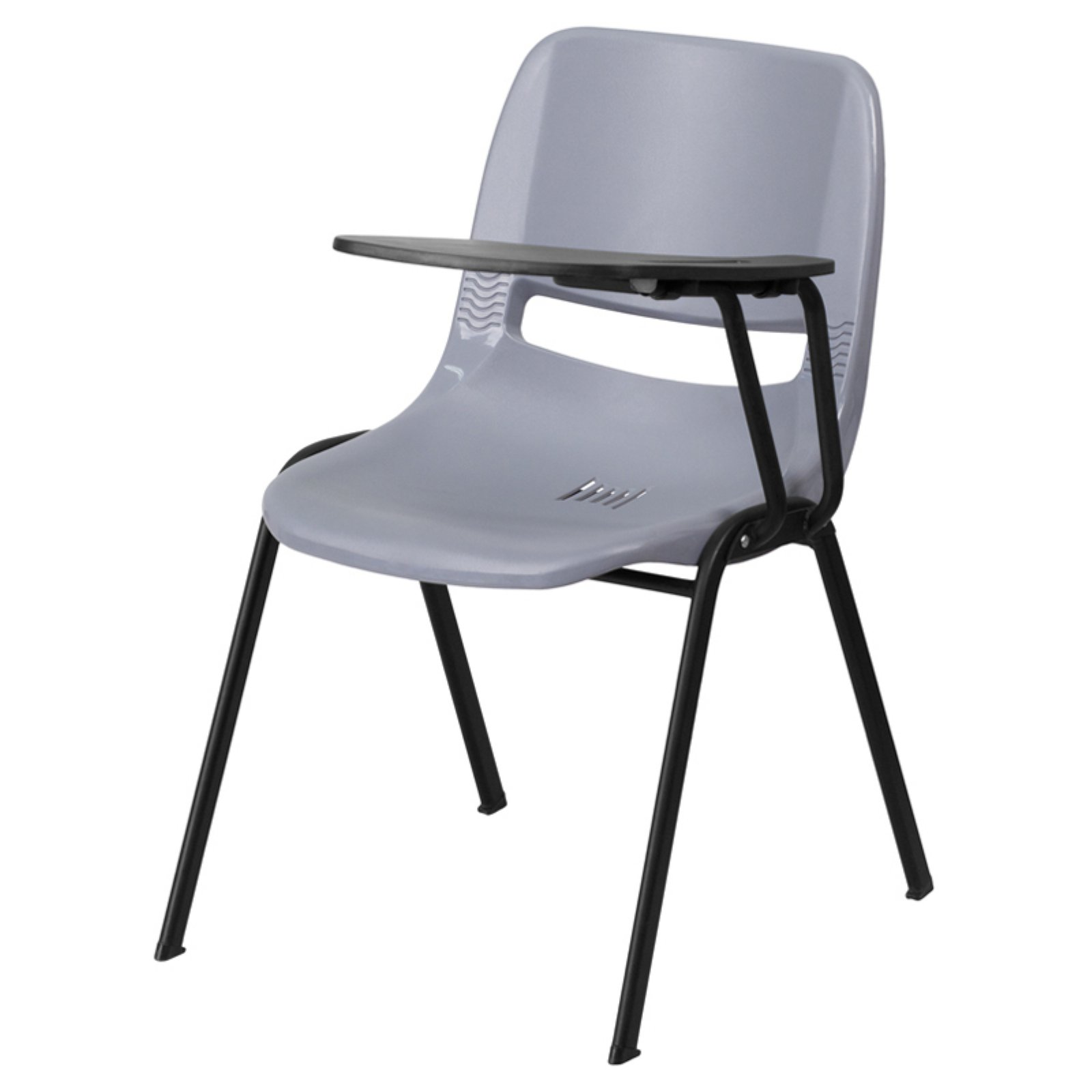 Flash Furniture Ergonomic Shell Chair with Right-Handed Flip-Up Tablet Arm, Gray