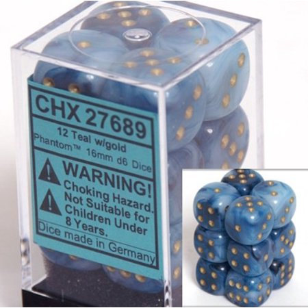 Chessex Dice d6 Sets: Phantom Teal with Gold - 16mm Six Sided Die (12) Block of Dice - image 1 of 1