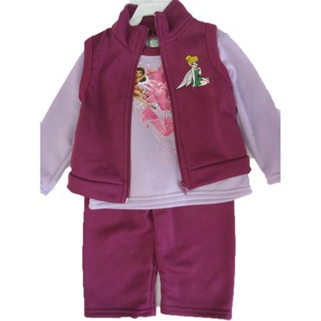 Baby Girls Purple Tinker Bell Printed Vest 3 Pc Pants Set 12-24M (Toddler Tinkerbell)
