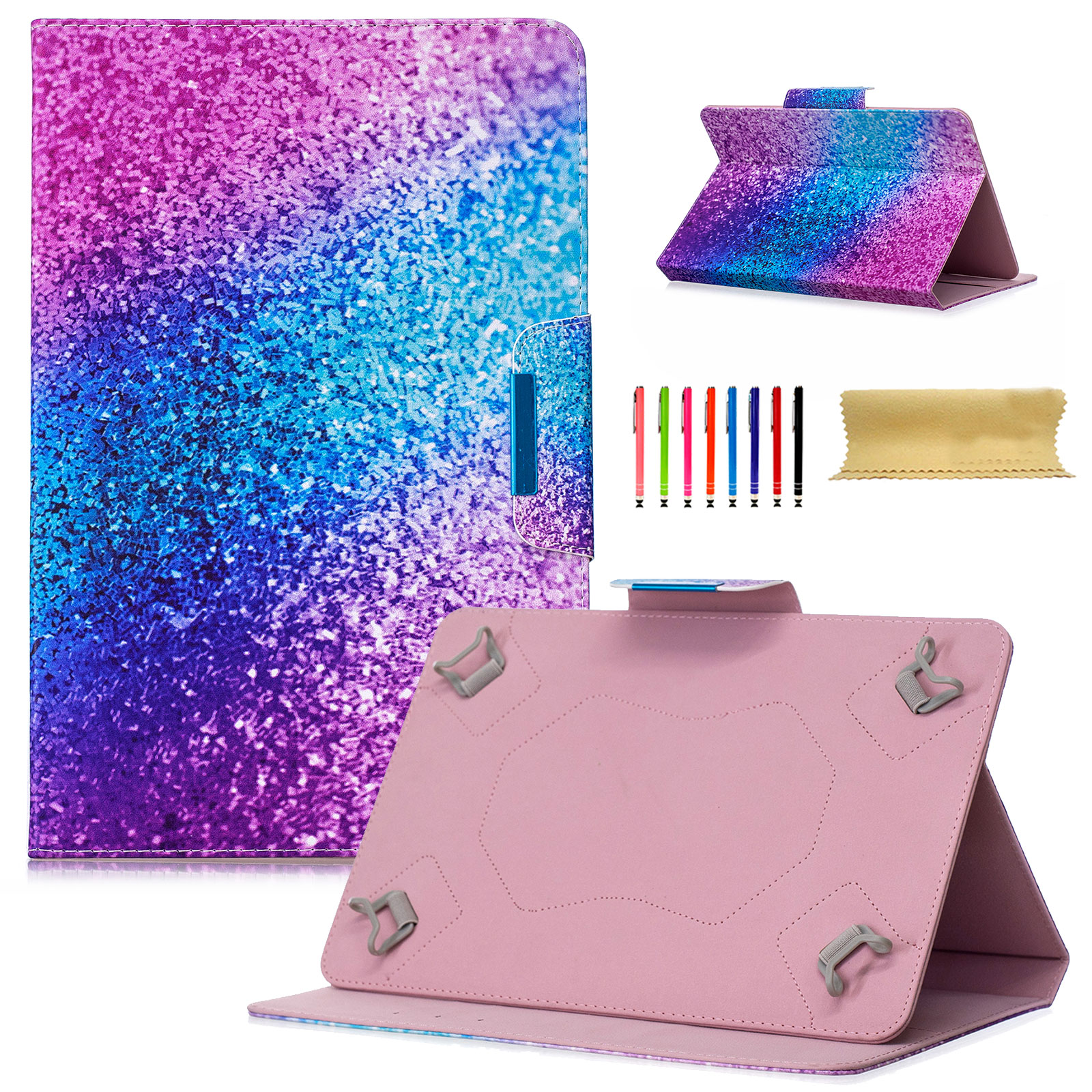 "Goodest Universal 7 Inch Tablet Case, PU Leather Stand Magnetic Wallet Cover for Samsung Galaxy Tab, Amazon Kindle Fire, Huawei, RCA, ASUS, Google and More 6.""-7.5"" Tablet, Glitter Sand"