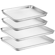 Large Baking Sheets Sets, HKJ Chef Baking Pans For Oven and Stainless Steel Cookie Sheets 4 Pieces and Toaster Oven Tray Pans No