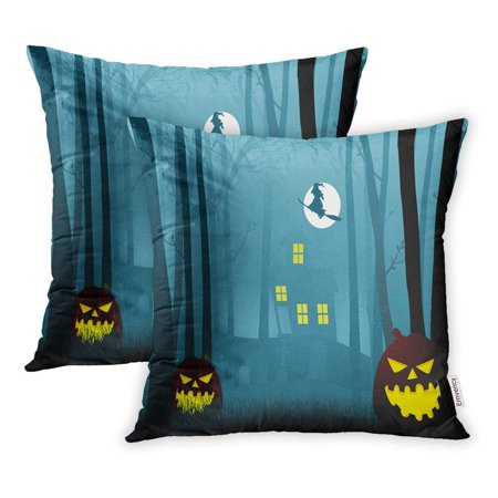 ARHOME Spooky Silhouette Witch House in The Dark Scary Woods Halloween Forest Pillowcase Cushion Cover 16x16 inch, Set of 2 (Halloween Witch Silhouette)