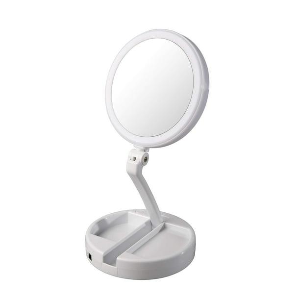 Floxite 12x Plus 1x Circle Lite Folding, Floxite 10x 1x Lighted Folding Vanity Travel Mirror