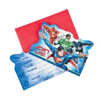 Justice League Invites for Birthday - Party Supplies - Licensed Tableware - Licensed Invitations - Birthday - 8 Pieces