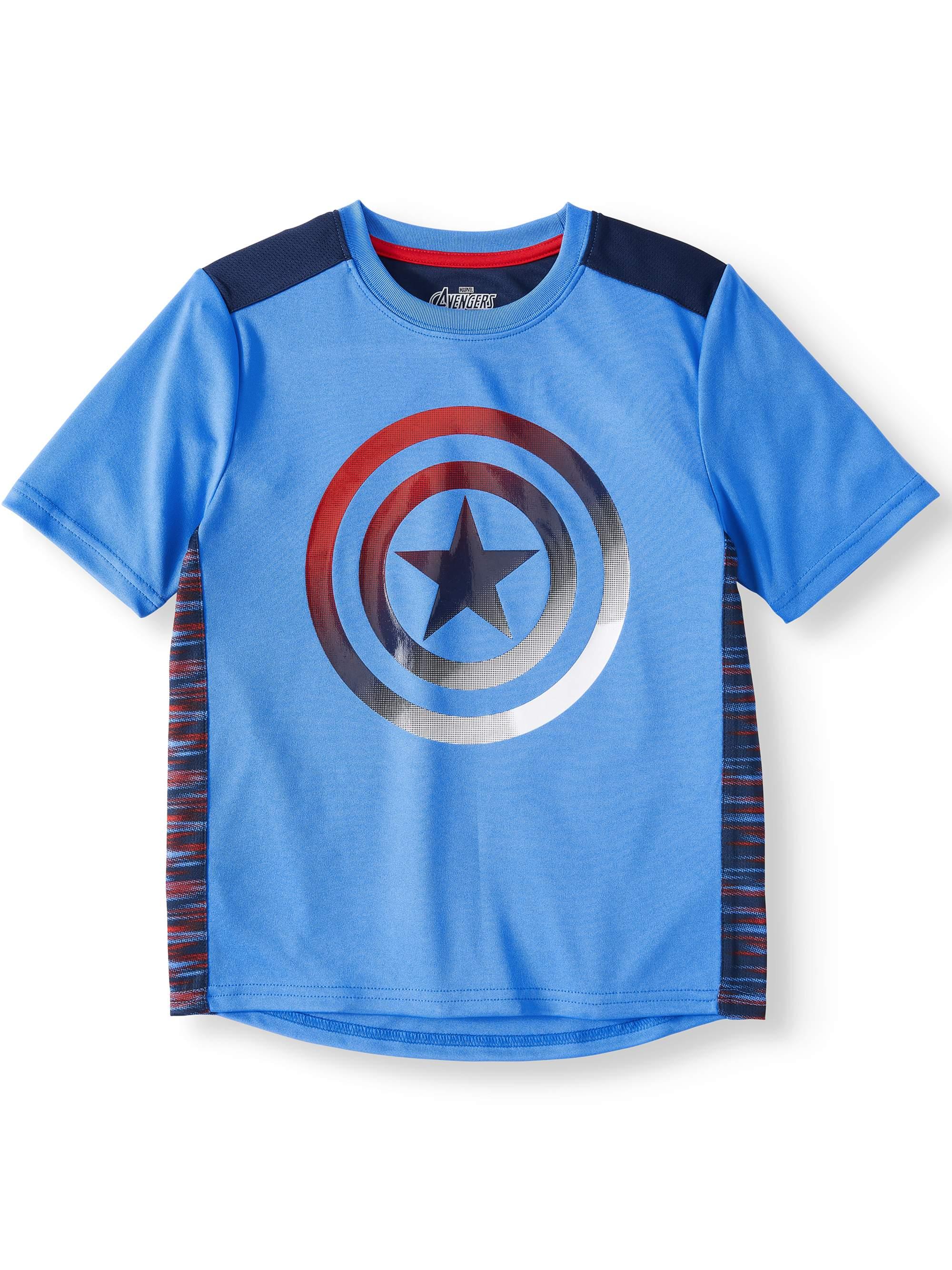 Captain America Short Sleeve Performance Tee Shirt (Little Boys & Big Boys)