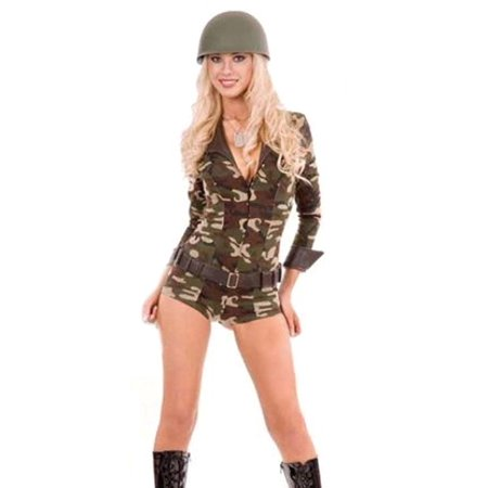 Charades Sexy Womens Army Military Soldier Halloween Costume (Halloween Charades Words)