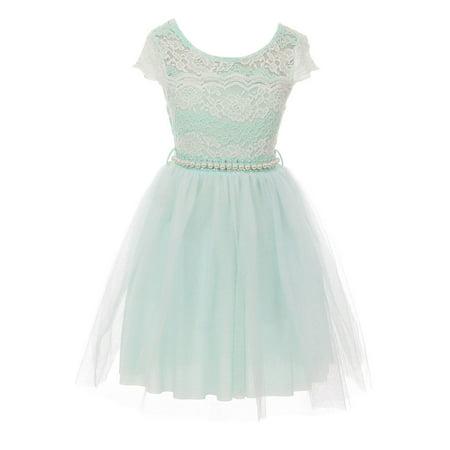 Wedding Dress Cap - Little Girl Cap Sleeve Lace Pearl Tulle Graduation Wedding Flower Girl Dress USA Mint 4 JKS 2133P BNY Corner