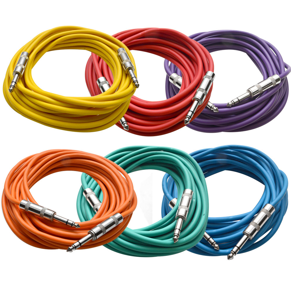 "Seismic Audio 6 Pack of Colored 1 4"" TRS 25' Patch Cable Balanced Effects EQ Multi-Colors SATRX-25BGORYP by Seismic Audio"