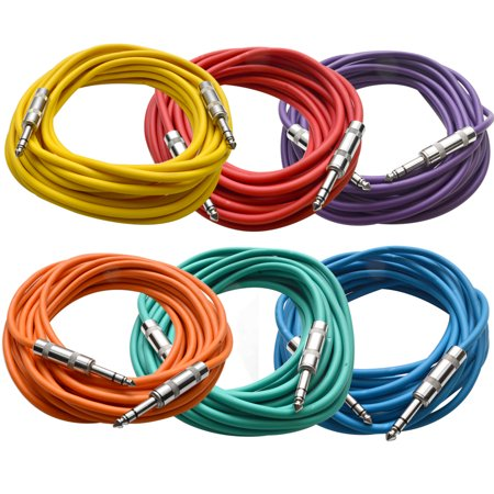 Seismic Audio - 6 Pack of Colored 1/4