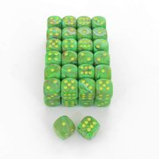 Slime Vortex Dice with Yellow Pips D6 16mm (5/8in) Bulk Pack Of 50 Wondertrail